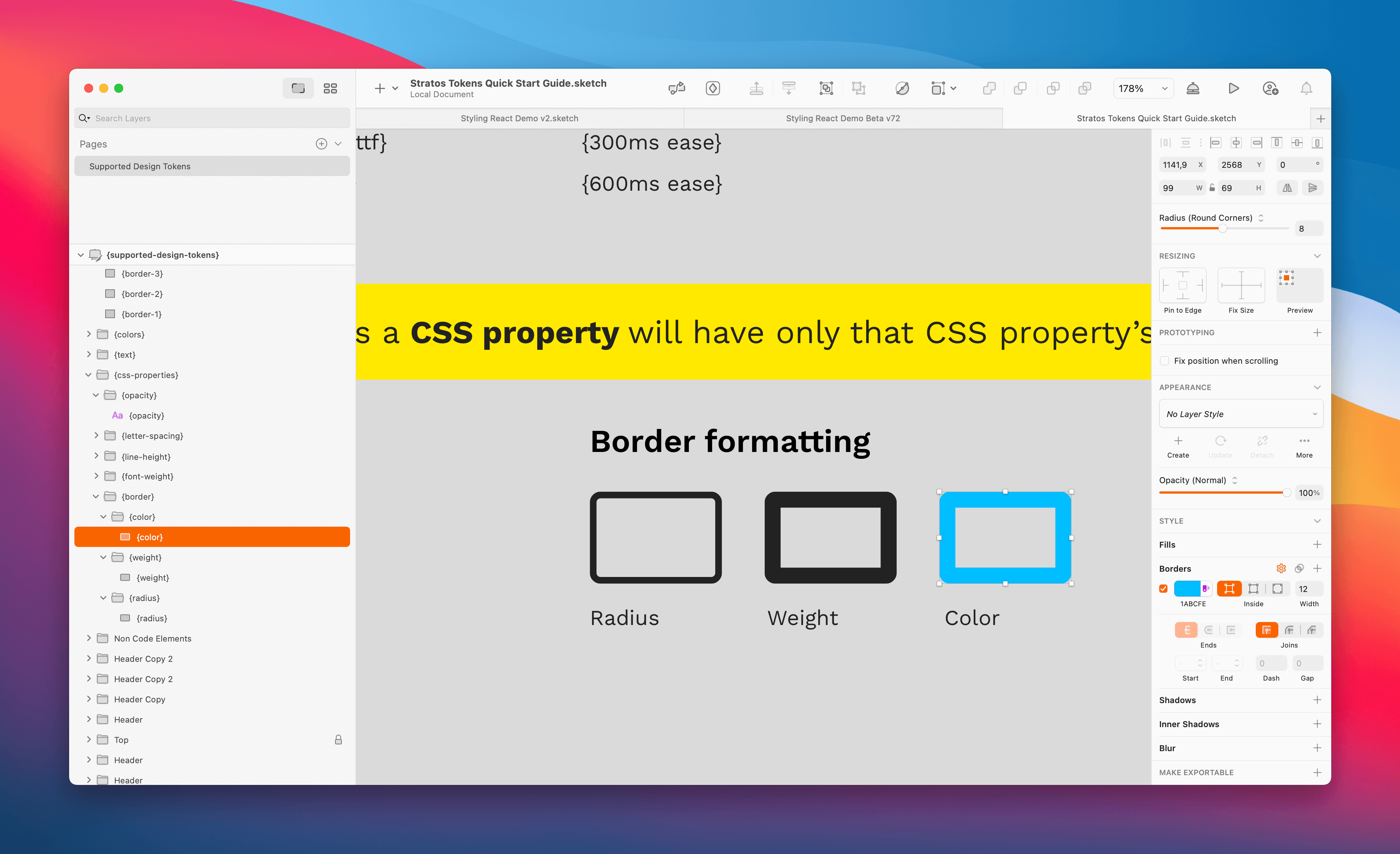 E.g. color outputs only the color of the border